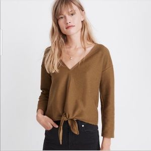 XS Texture and Thread Long-Sleeve Tie-Front Top